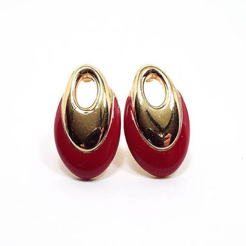 Monet Vintage Clip on Earrings Red Enameled Gold Tone Oval Hoop Womens Retro Jewelry 1980s 80s