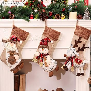 Christmas Decorations Free 2017 Christmas Stocking Clthes Santa Socks Christmas Gift For New Year Candy Gift Bags For Kids