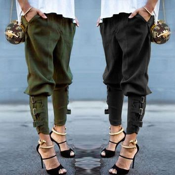 Light Loose Harem Pants Elastic Waist With Straps And Buckles