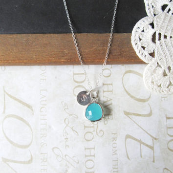 TREASURED hand stamped initial necklace with a milky turquoise rough cut glass crystal (sterling silver)