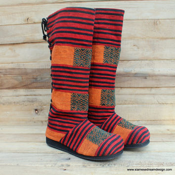 Tribal Naga Embroidered Womens Moccasin Boots Orange, Red and Black Ethnic Textiles