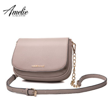 AMELIE GALANTI casual messenger bags for women fashion lady crossbody bag solid soft pu circular cover high quality 2017