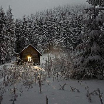 Cabin In Winter - Art Print