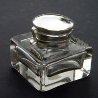 Clear Cut Glass Inkwell Antique Reproduction