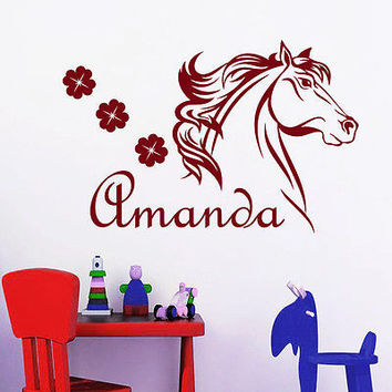 Name Wall Decals Horse Flower Decal Nursery Girl Room Home Decor Sticker MR710