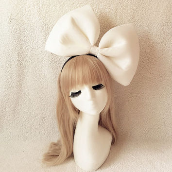 Oversized Super Giant white Red Bow Headband, Biggest bow hairband, Great for Party Modeling Photo Props, Kiki Costume