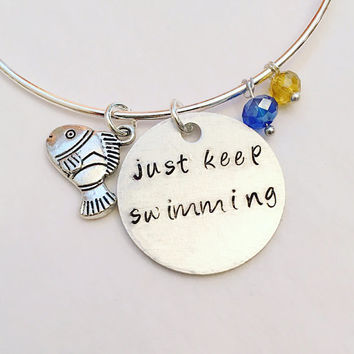 Just Keep Swimming Finding Nemo Dory Disney's Pixar Inspired Stamped Adjustable Bangle Charm Bracelet