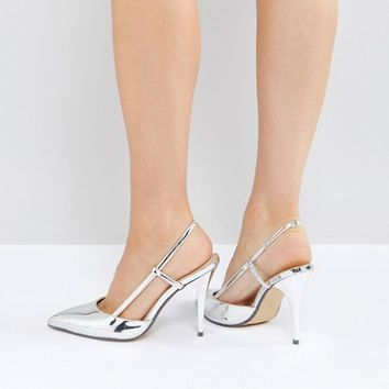 True Decadence Silver Metallic Slingback Point Heeled Shoes at asos.com