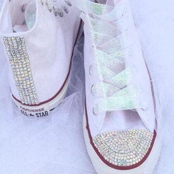 DCCK1IN rhinestone and glitter converse bride wedding quiceanera bat mitzvah prom shoes