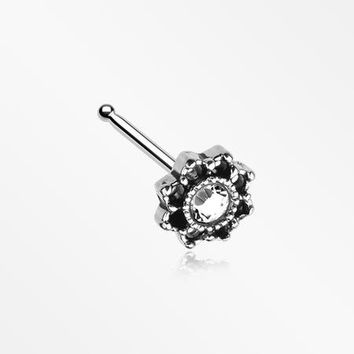 Lotus Flower Filigree Sparkle Icon Nose Stud Ring