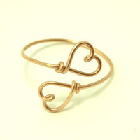 girlfriend gift,   friends  double heart wire ring gold permanently copper wire $10.00 by keoops8