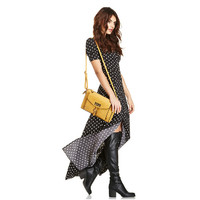 Summer Ladies Classical V-Neck Dot Black and White Long Casual Dress