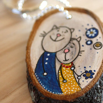 Gift for couple - Valentines Day Gift - Wooden Keychain - Bridal Shower Gift - Cats print -  Handmade Keyring - Hand painted Keychains