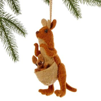 Mom & Baby Kangaroo Fair Trade Felt Tree Ornament