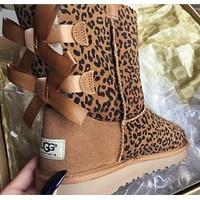 """UGG"" Women Fashion Leopard Bow Leather Wool Snow Boots"