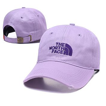 The North Face Trending Women Men Embroidery Sports Sun Hat Baseball Cap Hat Purple