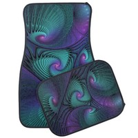 Purple meets Turquoise, Fractal Art Car Mat