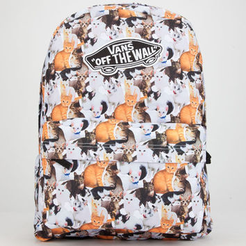Vans Cat Print Realm Backpack Black Combo One Size For Women 25441314901