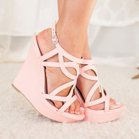 Dancing in Spring Wedges in Pink CLEARANCE