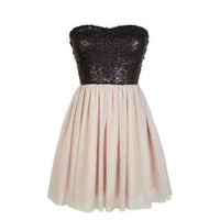 Strapless Sequin Glitter Tulle Dress - Blush
