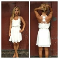 White Chiffon Double Diamond Strappy Back Dress