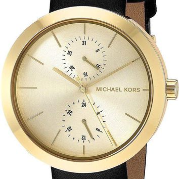 ESBONG6 Michael Kors Women's Garner Goldtone And Black Leather Multifunction Watch