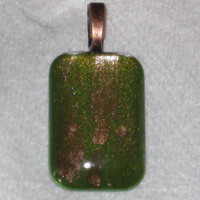 Nail Polish Jewelry, Hand Painted Domed Glass Cabochon, OOAK Green and Copper Pendant, Crackle Finish
