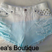 Blue Cotton Candy Ombre Shorts by SheaBoutique on Etsy