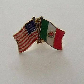 Mexico Flag And USA Lapel Pin Crossed Friendship Pin Bandera Mexico