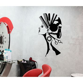 Vinyl Wall Decal Comb Hair Dryer Hairdresser Hair Salon Decor Stickers (3150ig)