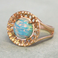 Opal Gold Ring,Opal Mint Ring,Opal Mint Gold Filled Ring,Mint Opal Big Ring,Fire Opal Ring,Vintage Style Opal Ring,Opal Jewelry,Gift for her