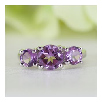 Classic Three-Stone Natural Amethyst Anniversary Ring in Sterling Silver