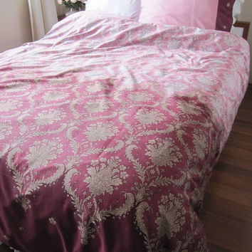 Dusty Pink burgundy DAMASK print FULL duvet cover - Custom Bedding  romantic bedroom