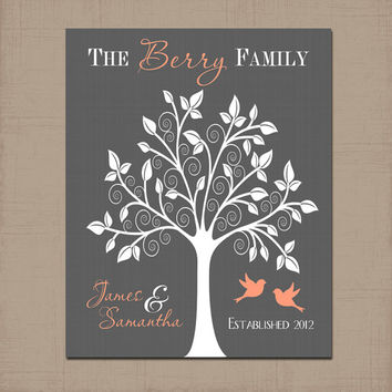 FAMILY TREE Wall Art, Lovebirds Print Couple Name Gift, Peach Custom Wedding Anniversary Gift, Last Name Established Date Love, Shower Gift