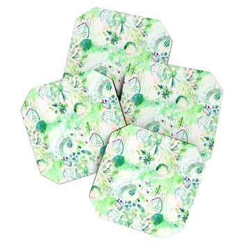 CayenaBlanca Mint lights Coaster Set