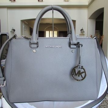 MK Michael Kors Sutton Medium Saffiano Leather Satchel Bag Pearl Grey 112-05
