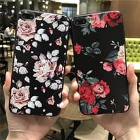 Pink White Rose Flower Silicone Full Body Case for iPhone 7 6 6s 5 5s Case soft Phone Cases Back Cover for 7 6 plus Capa Coque