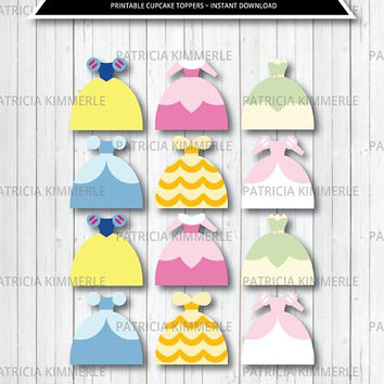 Printable Cupcake Toppers, Princess Dresses, Princess Party, Princess Decoration, Party Favor, Birthday, Decorations, DIY,  INSTANT DOWNLOAD
