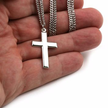 "Plain Cross Sterling Silver Pendant Necklace for Men 24"" Chain Polished Made USA 617759896381"