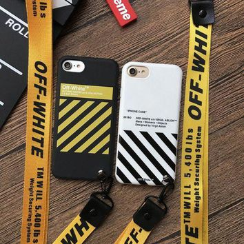 VOND4H Off White 2018SS Lanyard cover case for iphone 6 6S 6Plus S 7 7 plus 8 8Plus X