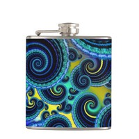 Funky Turquoise and Yellow Swirl Pattern Hip Flask