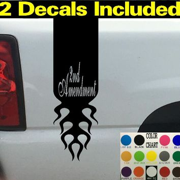 2nd Amendment Script Flames Truck Bed Stripe Decal Sticker 4x4 Diesel Truck SUV