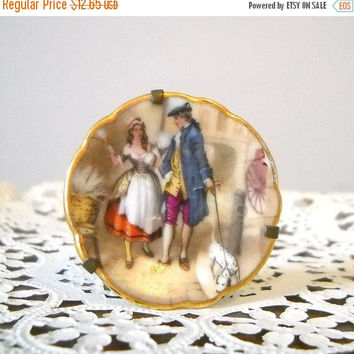 ON SALE - Limoges Miniature Plate, Vintage Romantic Couple French Dish on Brass Stand