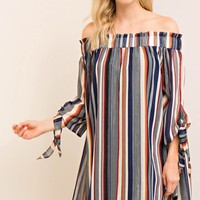 Striped Off-Shoulder Shift Dress