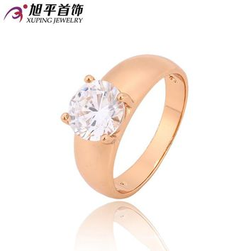 Xuping Fashion Female Ring Top Sale Unique Beautiful Rose Gold Color Plated With White Synthetic CZ Rings For Women 12838