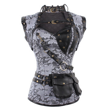 5PCS/LOT Latex Gothic Clothing Sexy Brown Steel Bone Corset Steampunk Waist Corsets And BustiersTop Women Corsets