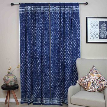 Handmade 100% Cotton Indigo Dabu Block Print Curtain Drape Panel 46x88