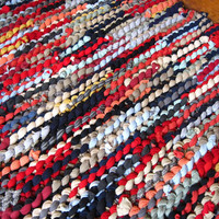 Upcycled T Shirt Rag Rug Navy Red Coral Tan Gray Rustic Primitive Farmhouse Modern Country Rectangle 24 in by 34 in -- US Shipping Included