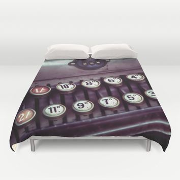 Vintage Cash Register Duvet Cover by Vicki Field