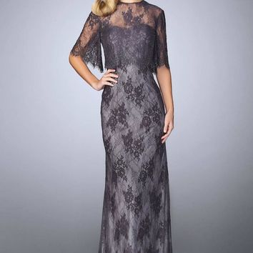 La Femme Beaded Lace Gown with Capelet 24856 - 1 pc Charcoal in Size 10 Available